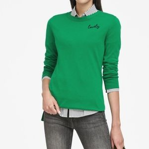 """Banana Republic Embroidered """"Lovely"""" Sweater"""